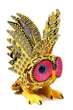 Oaxacan Fine Woodcarvings Mario Castellanos Aztec Owl