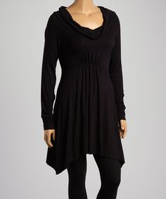 Look at this Black Drape-Neck Tunic - Plus on #zulily today!