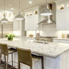 The classic white #shaker by North Cabinetry. . The distinct benefits of North Cabinetry's True Life Coating: - Unique soft touch finish - Durable - Highest resistance to UV - Very low VOC emissions - Formaldehyde free - Exceed highest environmental standards in North America . #whitekitchen #kitchenisland #whiteshakerkitchen #kitchendesign #kitcheninspiration Taupe Kitchen, White Shaker Kitchen, Shaker Kitchen Cabinets, White Shaker Cabinets, Kitchen Countertops, Kitchen And Bath, New Kitchen, Kitchen Island, Granite Kitchen