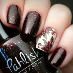 Flowers nai art. Brown and glitter nails. Nail design. Pahlish Polish. Polishes.