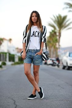 BW Stripes + Denim long shorts