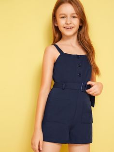 Girls Button Front Patch Pocket Belted Slip Romper | SHEIN UK Girls Fashion Clothes, Tween Fashion, Teen Fashion Outfits, Girl Fashion, Fashion Children, Cute Little Girls Outfits, Kids Outfits Girls, Pretty Outfits, Kid Outfits