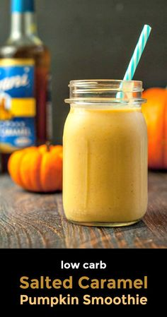 Low Carb Salted Caramel Pumpkin Smoothie - easy to make and super delicious!