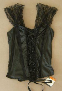 07d76ed0b720 Sexy Black Corset Top Bustier Lingerie Women Halloween Costume Lace Up Sz S  / M #