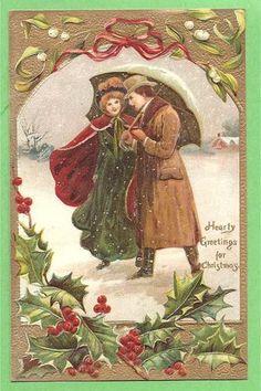 Vintage man and woman christmas postcard