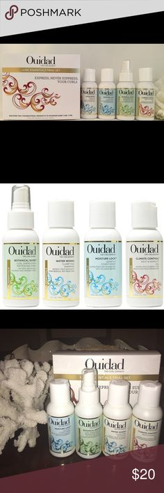 Ouidad Travel Set ~ BRAND NEW Includes Waterworks Clarifying Shampoo, Moisture Lock Leave-in Conditioner, Botanical Boost Curl Energizing & Refreshing Spray, and Climate Control Heat & Humidity Gel ~ 2.5oz each Ouidad Makeup