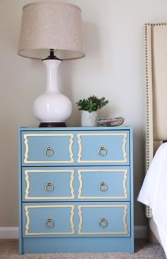 wow! Rast Chest from Ikea, painted blue with O'verlays & hardware (6th Street Design School)