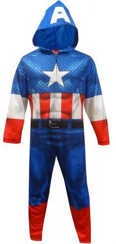 Marvel Comics Captain America Hooded Onesie Pajama 5d2b05589