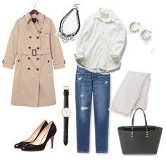 maya trench coat bag white shirts denim pants  fashion outfits look spring
