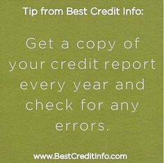 Get a copy of your credit report every year and check for errors - BestCreditInfo.com