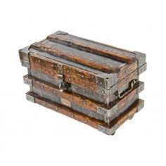 rare original and largely intact early 20th century american wells fargo stagecoach strongbox comprised of sheet steel, iron and oak wood stay-strips