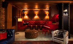 Lobby Lounge (with red baby grand piano!) at the NYLO Hotel, NYC