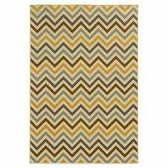 """Anchor your patio seating group or define space in the den with this woven indoor/outdoor rug, featuring a multicolor chevron motif for eye-catching appeal.  Product: RugConstruction Material: PolypropyleneColor: Grey and goldFeatures:  Machine wovenMade in EgyptSuitable for indoor or outdoor use Pile Height: 0.16"""" Note: Please be aware that actual colors may vary from those shown on your screen. Accent rugs may also not show the entire pattern that the corresponding area rugs have.Cleaning…"""