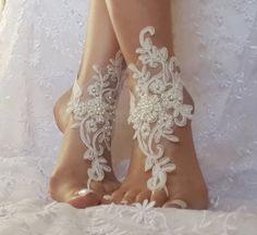 Libre nave blancos o marfil playa boda descalzos por GlovesByJana