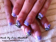 Acrylic Nail Art.  Purple and Zebra with 3d bows. #SephoraNailSpotting