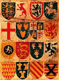 Heraldic plate from a medieval iluminated manuscript