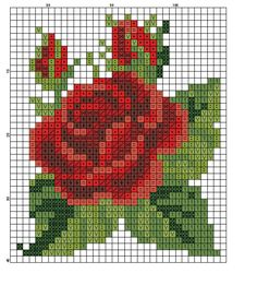 miniature needlework chart ~ would make a beautiful perler bead ornament! Cross Stitch Rose, Cross Stitch Flowers, Cross Stitch Charts, Cross Stitch Designs, Cross Stitch Patterns, Bead Loom Patterns, Beading Patterns, Embroidery Patterns, Flower Patterns