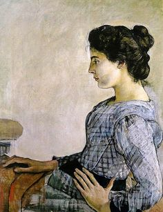 Portrait of Hélène Weiglé  -  Ferdinand Hodler  c.1888-89  Swiss painter 1853-1918