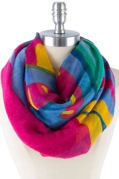 POP COLOR LETTER PRINT INFINITY SCARF -Fuchsia