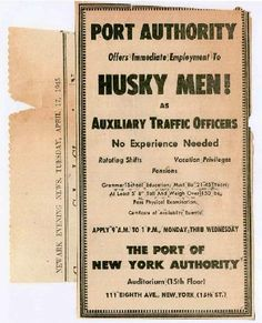 1945 Ad for Port Authority Police Officers.