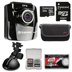 Transcend DrivePro 220 1080p HD GPS Car Dashboard Video Recorder with Suction Cup with 32GB Card + Case + Kit. KIT INCLUDES 5 PRODUCTS -- All BRAND NEW Items with all Manufacturer-supplied Accessories + Full USA Warranties:. [1] Transcend DrivePro 220 1080p HD GPS Car Dashboard Video Recorder with Suction Cup +. [2] Transcend 32GB microSDHC Card +. [3] JVC Camera & Accessory Case +. [4] PD 8 SD Card Memory Card Case + [5] Microfiber Cleaning Cloth.