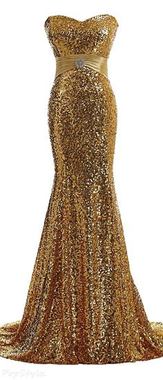 Gorgeous Long Fitted Glitzy Sequined Gown