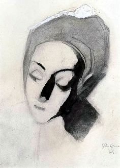 Schjerfbeck, Helene (1862-1946) - 1943 Spanish Lady after El Greco, Pale Madonna (Christie's London, 2005), for more please visit http://painting-in-oil.com/artworks-El-Greco-page-1-delta-ALL.html