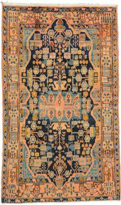Home Chic Raleighv- Persian rug, orange and blue rug, orange blue pink rug, patterned rug, persian rugs