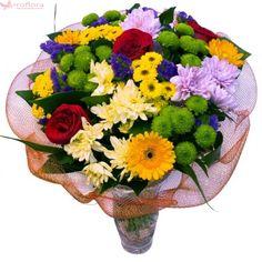 Wishes Bouquet - Buchet din trandafiri, gerbera si crizanteme Unique Flowers, Bouquets, Floral Wreath, Wreaths, Plants, Gifts, Decor, Floral Crown, Presents