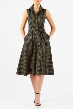 I <3 this Gingham check cotton belted shirtdress from eShakti