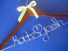 Personalized Bridal Hanger with Bow by HandmadeByHeather4U on Etsy, $20.00