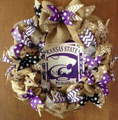 K-State wreath--VERY CUTE!!! And living in Baylor Nation, this would be perfect!