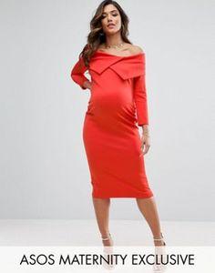 ASOS Maternity Origami Pleated Bardot Dress in Scuba
