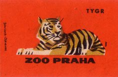 prague zoo. 1963. czechoslovakia. matchbox label. print. ephemera. [2951]