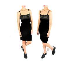 90s Small Black Velvet Holiday Dress  Vintage 90s by ColonyVtg
