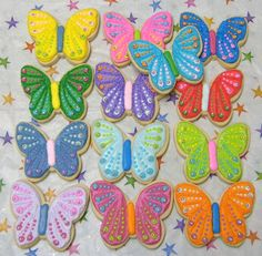 Reserved for Melanie-Butterfly Cookies - Butterfly Decorated Cookies - Butterfly Cookies - Cookie Gift - 1 Dozen - Miller is Home Cute Cookies, Easter Cookies, Cupcake Cookies, Cupcakes, Cookie Favors, Cookie Gifts, Butterfly Cookies, Butterfly Party, Butterfly Birthday