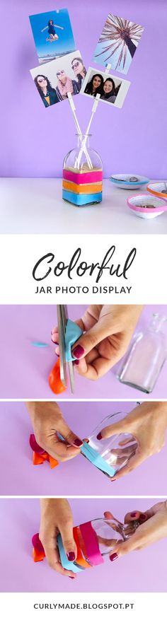 Decorating on a budget: DIY 3 Colorful Room Decor Items: Quote Art | Coiled Paper Jewelry Dishes | Jar Photo Display - Easy DIY Gifts