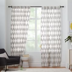 Sheer Diamond Curtain   Pewter We Keep Our Simple Palette Interesting With  Another Pattern On The Drapery From Patterned Curtains, Gray Drapery, ...