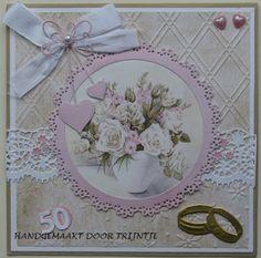 Trijntjes Kaarten: Jubilea kaarten trouwen Marianne Design, Anniversary Cards, Vintage Cards, Birthdays, Card Making, Scrap, Romance, Frame, Inspiration