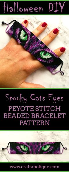 Halloween peyote stitch pattern - could this spooky cats eyes bracelet be the perfect addition to your Halloween costume? More info on the pattern here...