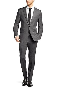 'Huge/Genius' | Slim Fit, Super 110 Italian Virgin Wool Suit, Grey
