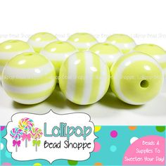 20mm PALE YELLOW & White Stripe Beads Chunky Necklace Beads Light Yellow Striped Resin Round Plastic Bubblegum Beads Bubble Gum Beads SRB47 by LollipopBeadShoppe
