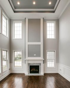 White Wainscoting Dining Room Elegant 60 Wainscoting Ideas Unique Millwork Wall Covering and High Ceiling Living Room, Living Room Panelling, Living Room Decor, White Fireplace, Fireplace Wall, Fireplace Design, Fireplace Moulding, Two Story Fireplace, Dining Room Wainscoting