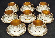 8 Antique Royal Doulton Demitasse Cup & Saucers