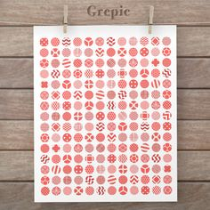 Digital downloads: 12mm circles RED PATTERNS collage sheet red patterns for pendants, bottle caps, paper craft, collage sheet, red circles #patterns #grepic