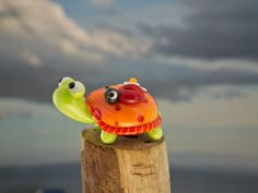 Lissa and Beth lampwork turtle and ladybug bead by DeniseAnnette, $16.00