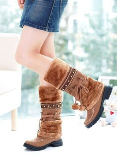 Knee High - Brown fashion winter warm snow boots