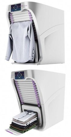This robotic clothes folding machine developed in collaboration with BSH home appliance group. Laundry Room Design, Home Room Design, Folding Machine, Smart Home Appliances, Cool Gadgets To Buy, Amazon Gadgets, Smart Home Technology, Home Gadgets, Cooking Gadgets