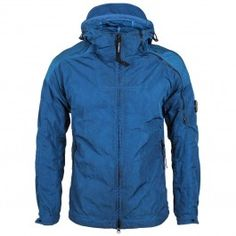 CP Company - Chrome Re-Colour Hooded Jacket in Blue Work Suits, Spring Summer 2018, Sportswear Brand, Hooded Jacket, Hoods, Raincoat, Chrome, Winter Jackets, Colour
