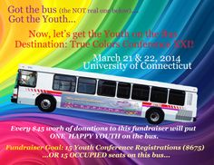 WHOA! The bus is empty and the driver is mighty lonely! I KNOW she would LOVE to have her first passenger by this time next week! Can you help her out? More importantly, can you help out the LGBT youth whose only way to attend the True Colors, Inc., Leveling the Playing Field Conference XXI is by getting a seat on this bus? Here's a link if you'd like to help out. It's really fast and easy.  http://www.crowdrise.com/tcxxilevelingtheplayingfield/fundraiser/dianeknox   Thank you! ~ Diane